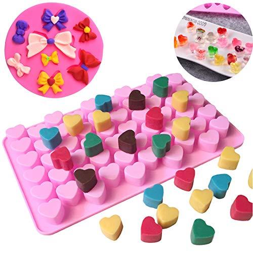 Jixista Moules en Silicone Mini moules en Silicone en Forme de Cœurs Nœud en Silicone Fondant Moule Silicone Candy Jelly Plaques de Cuisson Fondant Chocolat Bonbons Moule d'Arc en Silicone DIY 2PCS