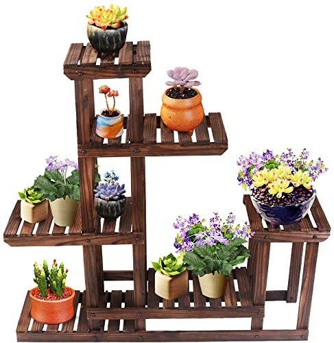 Wooden Plant Stands Flower Rack Shelf - Multi-Functional Solid Wood Shelves Storage Rack Bookshelf W/Hollow-Out Rack Bonsai Display Shelf Indoor Outdoor Garden 40\u0026quot; Wide