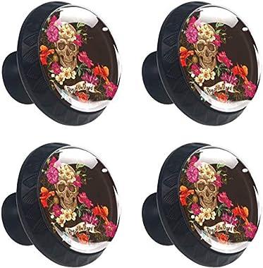 "4 Pack Round Kitchen Cabinet Knobs Pulls Skull and Flowers Day of The Dead (1-37/100"" Diameter) - Dresser Drawer/Door Hardware - DIY Pattern Customization"