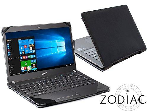 Navitech schwarzes Premium Portfolio Leder Hülle/Cover Trage Tasche/speziell für das Acer TravelMate P648