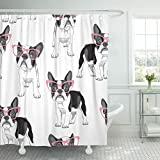 Emvency Shower Curtain Black Frenchie with Cartoon French Bulldog in Pink Glasses on White Dog Funny Waterproof Polyester Fabric 72 x 72 inches Set with Hooks