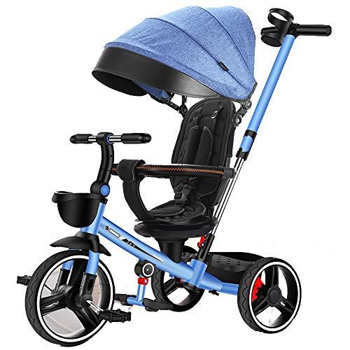 Axdwfd Kinderfiets Standaard Baby Kinderwagens PU Wheel Hoog Koolstofstaal Frame,Kids driewielers 2-speed Intrekbare Stuurhendel, driewielers Push Pull Baby Twee-weg Roterende Stoel Fiets