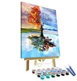 DIY Oil Painting Paint by Number Kit for Adults Kids Beginner - Four Season Tree of Life 16'x20' with Wooden...