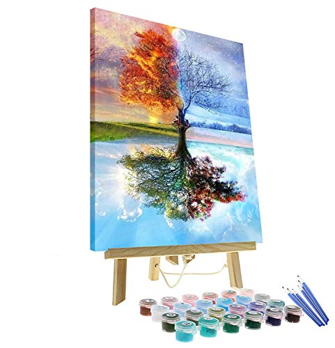 Oil Painting by Numbers kit Beginner Painting with Numbers for Adults Framed Include Wooden Easel 16x20 Inch DIY Paint by Numbers for Adults Canvas