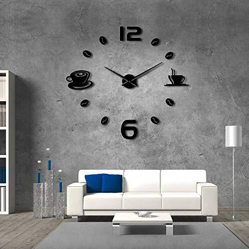 KKLLHSH Café DIY Reloj de Pared Grande Sin Marco Reloj de Pared Gigante Café Taza de café Grano de café Decoración de Pared Reloj de Pared de cocina-47_Inch