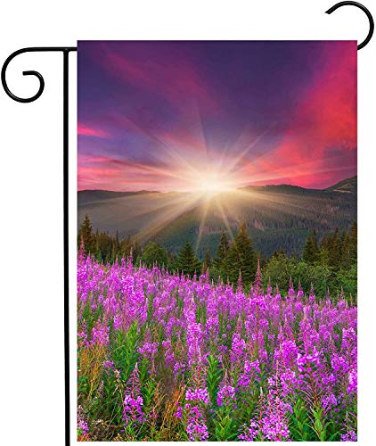 "laolang Mountains with Pink Floral Flowers Spring Summer Autumn Nature Scenery Garden Yard Flag 12""x 18"" Double Sided Polyester Welcome House Flag Banners for Patio Lawn Outdoor Home Decor"