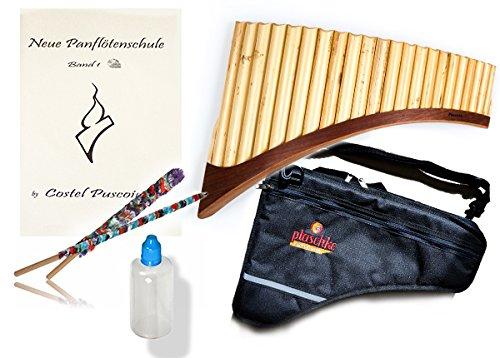 Panflöten SET mit S22-Töne/Rohre in G-Dur Panflöte, Notenbuch mit Audio, Pflegeset und professionelle Tasche, handgemacht in Südtirol von Plaschke Instruments