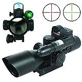 Lunettes de visée Fusil tactique 2.5-10X40 Chasse Portée w / Laser Vert & Mini...