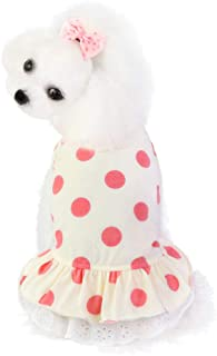 BBEART Pet Clothes, Summer Dog Princess Dress Cotton Tutu Skirt Polka Dot Party Costume for Puppy Small Medium Dogs
