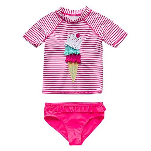 Ucoolcc Mädchen Badeanzug Zweiteiler Kurze Ärmel Badeanzug Bademode Kinder Beachwear Baby Schwimmenanzug, 3-8 Jahre