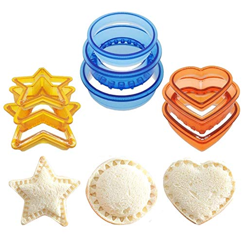 3 Sets(9 PCS) Sandwich Cookie Biscuit Bread Cutter and Sealer,Uncrustables Decruster Sandwich Maker, Cut and Seal for Lunchbox and Bento Box Boys and Girls Kids Lunch(Heart, Star,Circle)