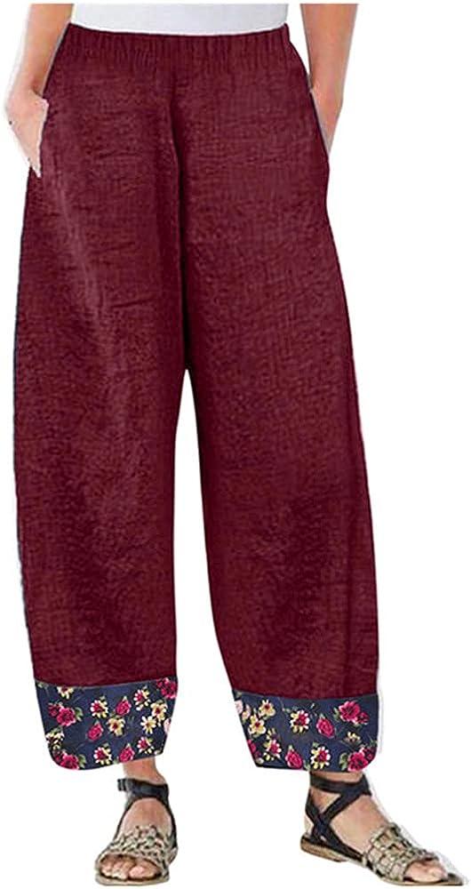 NP Patchwork Print Pants Women Casual Baggy Pants Women Pockets High Waist