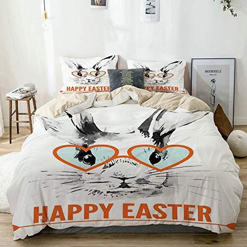 Juego de Funda nórdica Beige, Conejo de Pascua con Estampado de Gafas, Juego de Cama Decorativo de 3 Piezas con 2 Fundas de Almohada Cuidado fácil Antialérgico Suave Suave