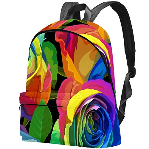 Multicolored Roses Women Daily Bags Travel Backpack for...