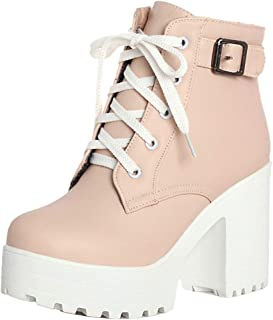 VulusValas Women Lace Up Ankle Boots