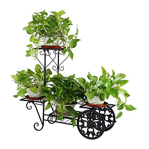 Youwise Soporte de Plantas de Metal Elegante, 4 Lados Escalera de Flores, Soportes para Macetas de...