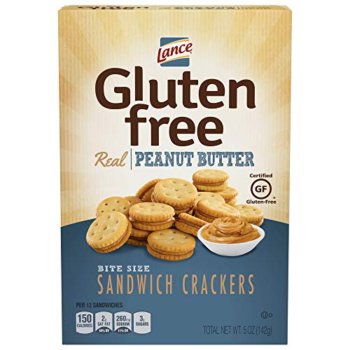 Lance Gluten Free Peanut Butter Bite Sized Sandwich Snack Crackers 5 Oz Box [12 Pack]
