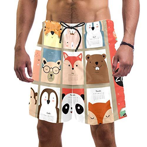 Pantalones cortos de playa para hombre, calendario mensual 2017 con animales, bañador elástico, pantalones cortos para hombre multicolor S