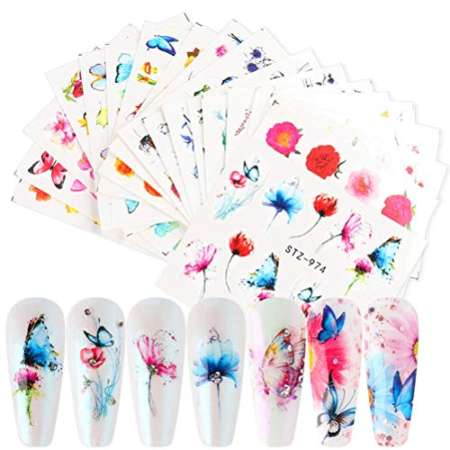 Hoonee 18 Fogli Farfalla Adesivi per unghie, Nail Stickers Water Decals Nails Fai da Te Arte Unghie Autoadesivi Nail Art