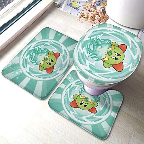 xinping Anime Kirby Plasma Super Smash Bros - Juego de 3 piezas, juego de alfombras de baño y baño absorbente y M.