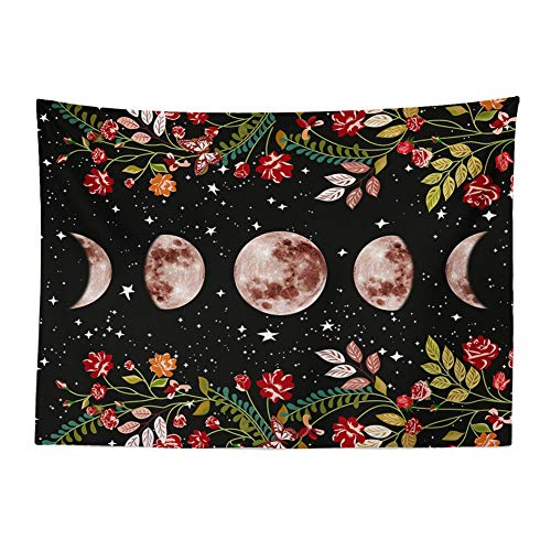 GenericBrands Tapiz de jardín Iluminado por la Luna Galaxy Starry Moon Phase Tapiz Colgante de Pared para Dormitorio Sala de Estar Dormitorio Fondo de Tela