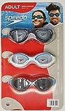 Speedo Anti-Fog UV Protect Latex Free Adult Swimming Goggles 3 Pack (White, Black and Blue)