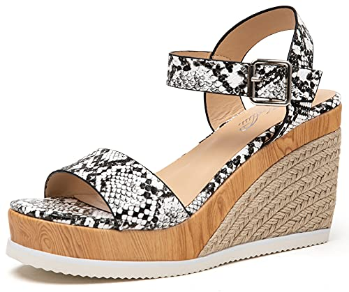 Katliu Women's Espadrille Wedge Sandals Open Toe Platform Sandals with Ankle Strap Snakeskin