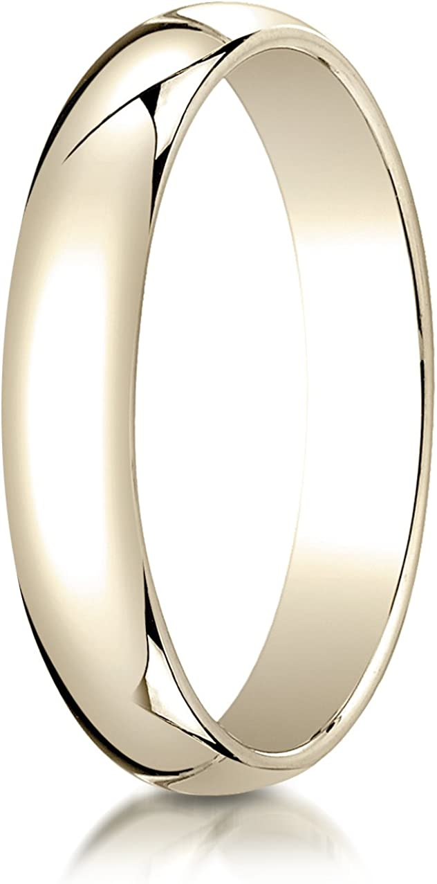 Benchmark 10K Yellow Gold 4mm Slightly Domed Traditional Oval Wedding Band Ring (Sizes 4 - 15 )