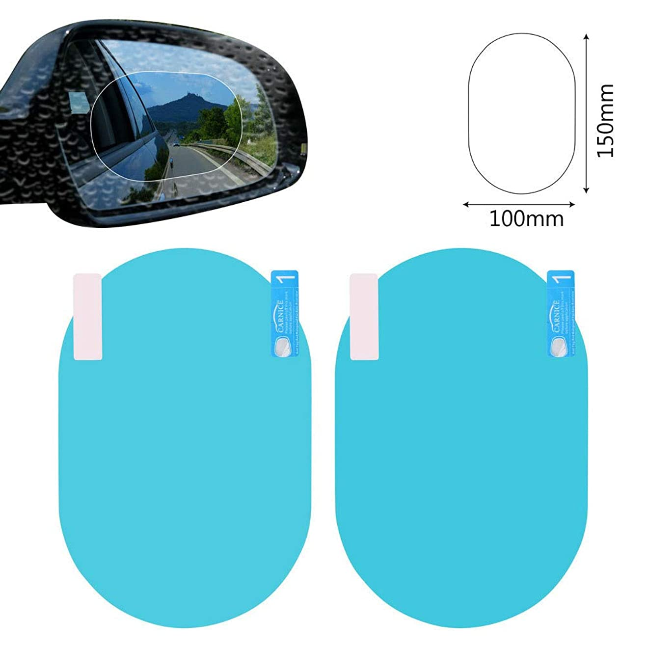 ペチコートブラウザ民族主義2PCS/Set Anti Fog Car Mirror Window Clear Film Anti-Glare Car Rearview Mirror Protective Film Waterproof Rainproof Car Sti...