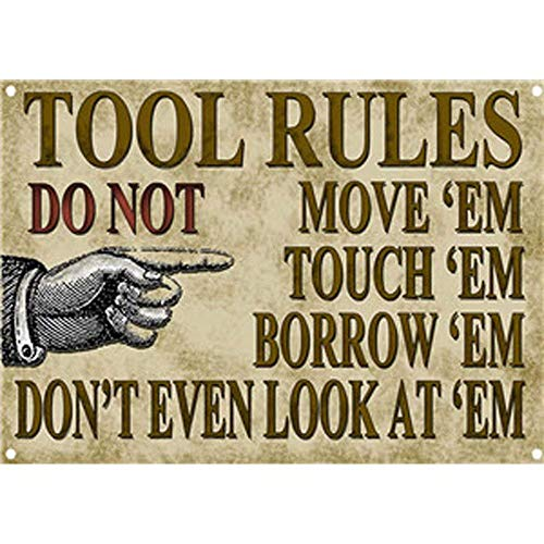 NNGT Tool Rules Vintage Posters Wall Plaque for Office Bar Pub Beer Club Cafe Metal TIN Sign 20X30 CM