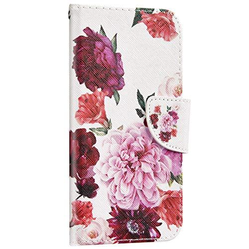 Saceebe Compatible avec Huawei Honor 7A Housse Portefeuille Cuir Coque 3D Motif Coloré Coque Flip Wallet Case Porte-Cartes Support Stand Clapet Etui Housse de Protection,Fleur Rouge