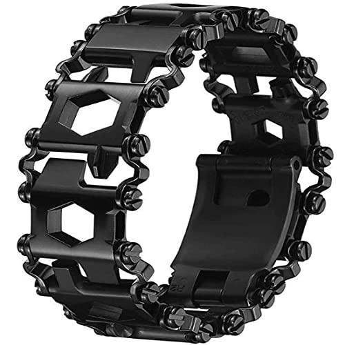 Multifunctional Tool Bracelet 29 In 1 Black Friendly Glossy Bracelet Wristband Stainless Steel Wearable Bracelet Wearable Outdoor Survival Emergency Bracelets Suitable for Family, Camping, Hiking.