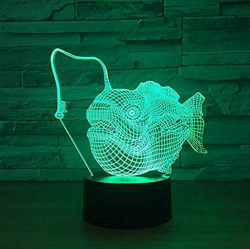 3D Illusion Night Light bluetooth smart Control 7&16M Color Mobile App Led Vision Small Fish Pattern Button Audio Multied Employee Welfare Toy Kids Room colorful Creative gift