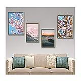 JKC - Marco de fotos (7 x 5, 4 unidades, montaje en pared, madera maciza con plexiglás HD para sala de estar, dormitorio y decoración