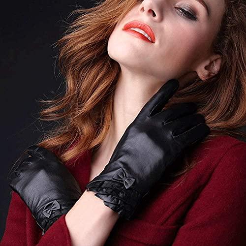 Moda de otoño e invierno y elegantes guantes de cuero de cuero damas más terciopelo al aire libre conduciendo e montar en la pantalla táctil delgada guantes de cuero grueso a prueba de viento e imperm