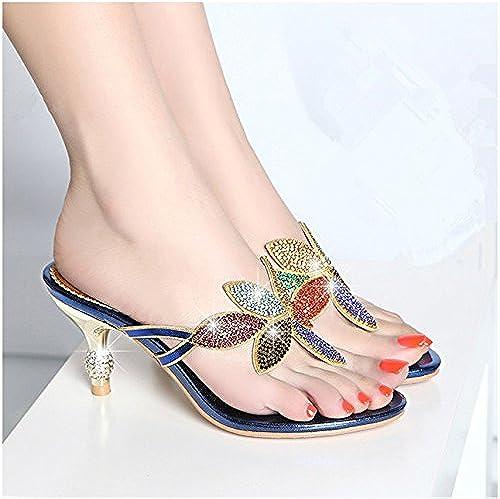 GTVERNH L'été L'été Des Sandales Les Pantoufles Avec Un Beau Diamant Strass - Sandales à Talons 6 Cm Femelle Toe Sandales Trente - Sept bleu  juste l'acheter