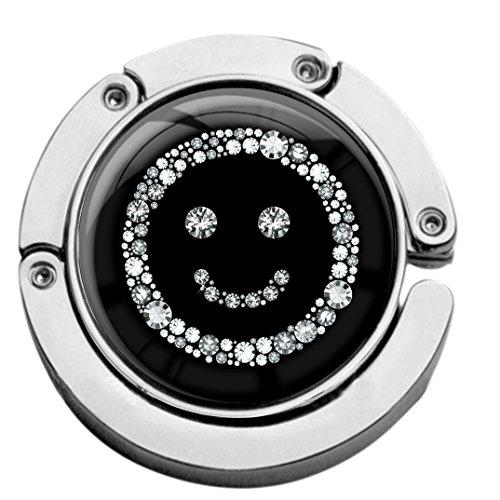 metALUm Taschenaufhänger Handtaschenhalter Smiley IN Silber mit faltbarem Magnetverschluss #2601112