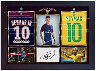 S&E DESING Neymar Photo Brazil Paris Saint Germain Print Signed Autograph Framed MDF