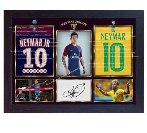 SGH SERVICES Poster 2018/19 Neymar Foto Brasilien Paris Saint Germain Foto Druck Poster Vordruck Foto Druck gerahmt MDF Rahmen Fußball