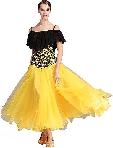 JINPENGRAN pour Les Robes de Bal Dames Perforhommece en Mousseline de Soie Dentelle Art Soie Volants Manches Courtes Robe Haute,jaune,XL