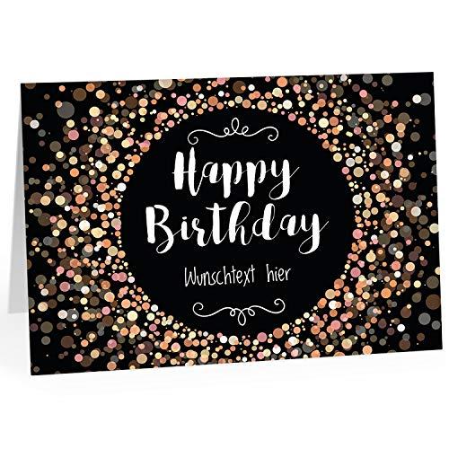 XXL Geburtstagskarte (A4) | PERSONALISIERT | Happy Birthday Konfetti modern | mit Umschlag | Glückwunsch zum Geburtstag | Klappkarte mit Ihrem Wunsch-Text | personalisierte Grußkarte