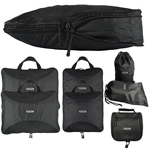 TraveLubes Packwürfel Set mit Kompression 7-teilig mit Kosmetiktasche | Koffer-Organizer & Packtaschen Set für Rucksack & Koffer | Wasserdichtes Fach | Gepäck-Organizer | Kleidertaschen & Kulturbeutel