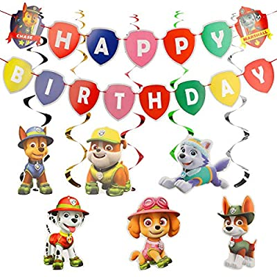 YNK Decoracións de Cumpleaños, Paw Dog Patrol Cake Topper Feliz Cumpleaños Decoracion Patrulla Canina para Niños, Banner de Feliz Cumpleaños Set de Decoración de Cumpleaños para Niña e Niño de YNK