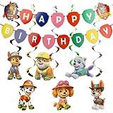 YNK Decoracións de Cumpleaños, Paw Dog Patrol Cake Topper Feliz Cumpleaños Decoracion Patrulla Canina para Niños, Banner de Feliz Cumpleaños Set de Decoración de Cumpleaños para Niña e Niño