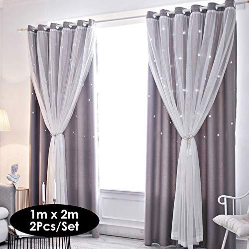 Festnight 2Pcs Fenstervorhang ausgehöhlt Sterne Shading Vorhang drapieren Purdah für zu Hause Wohnzimmer Schlafzimmer