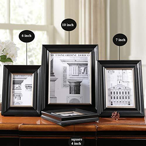 DIAZ zwart houten frame voor fotolijsten hout goedkope moderne muur fotolijsten bruiloft familie collage, 1 stuk fotolijst, vierkant 4 inch