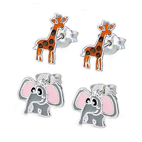 SL-Silver Set aus kinderohr Anelli Elefante e giraffa 925Argento in confezione regalo