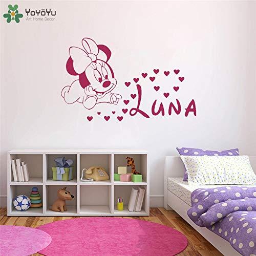 YIYEBAOFU muurschildering voor kinderen, muis, personaliseerbaar, elke naam en meisjes, muursticker, muurkunst, posters, kinderen meisjes kamer mooie stickers in huis d