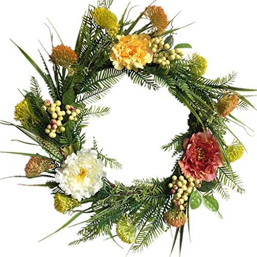 SBDLXY 20inch Artificial Dandelion Peony Front Door Wreath Handcrafted Wreath for Front Door Outdoor Home Wall Party Wedding Decor