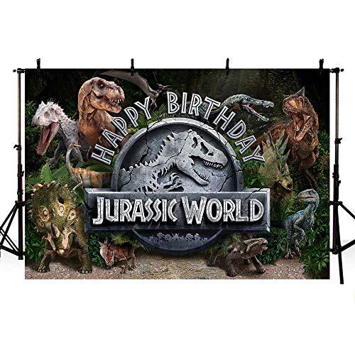 MEHOFOND Fondo temático de dinosaurios de 2,1 x 1,5 m, para fiestas de cumpleaños, fotografía, fondos, fotografía, telón de fondo, decoración para sesiones de fotos, letrero de retrato